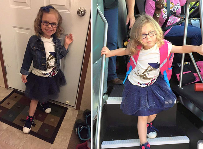 Здається цю дівчинку трошки шокував перший похід в школу