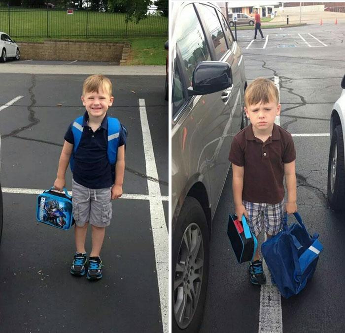 перше фото-паркова перед школою до початку уроків, друге-після уроків